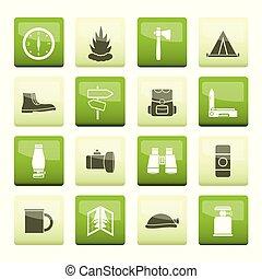 icônes, couleur, sur, fond, vacances, tourisme