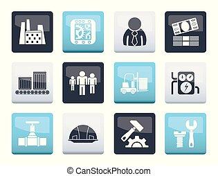 icônes, couleur, sur, usine, business, fond, moulin