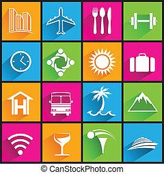 icônes, couleur, voyage commercial