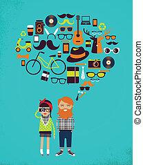 icônes, couple, jeune, hipster, parole, élégant, bulle