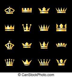 icônes, couronnes, ensemble