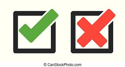 icônes, -, croix, marque, vecteur, chèque
