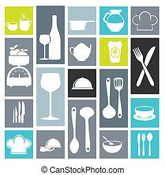 icônes, cuisine