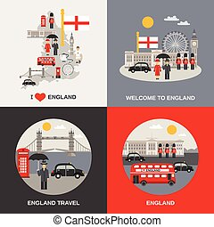 icônes, culture, angleterre, voyage, 4, plat