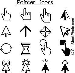 &, icônes, curseur, indicateur, déclic