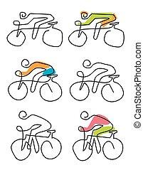 icônes, cyclisme, lineart, stylisé