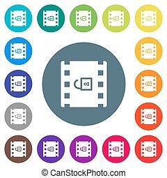 icônes, décoder, arrière-plans, plat, rond, film, couleur, ...