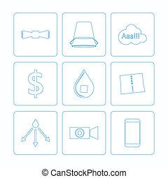 icônes, défi, seau, glace, vecteur, contour