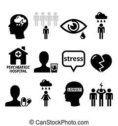 icônes, dépression, -, santé, mental