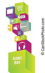 icônes, dans, coloré, cubes