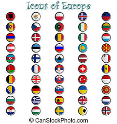 icônes, de, europe, complet, collection