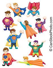 icônes, dessin animé, surhomme