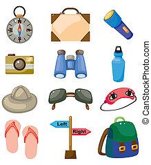 icônes, dessin animé, voyage, ensemble