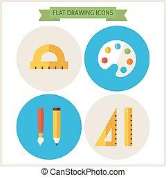 icônes, dessin, ensemble, site web, plat