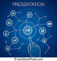 icônes, diagramme, topic, bleu affaires, présentation, conférencier, présentation, concept, arrière-plan.