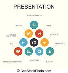 icônes, diagramme, topic, présentation affaires, conférencier, concept., présentation, infographic, étapes, 10