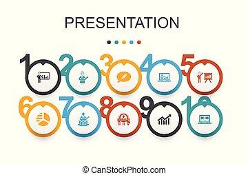 icônes, diagramme, topic, présentation affaires, conférencier, template., présentation, infographic, conception