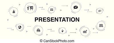 icônes, diagramme, topic, présentation affaires, conférencier, template., présentation, infographic, étapes, 10