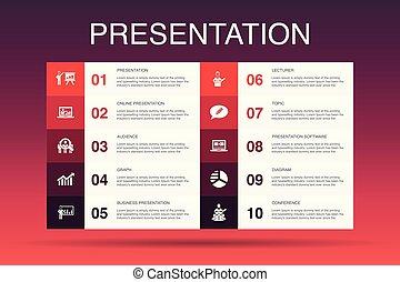 icônes, diagramme, topic, présentation affaires, conférencier, template., présentation, option, infographic, 10