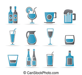 icônes, différent, espèce, boisson