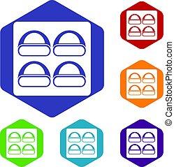 icônes, différent, sushi, ensemble, hexagone