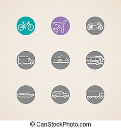 icônes, différent, transport, modes, plat