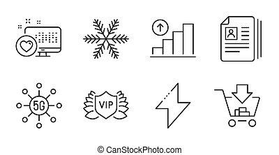 icônes, documents, set., flocon de neige, vecteur, graphique, diagramme, sécurité, coeur, signs., cv, énergie, vip