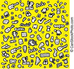 icônes, doodled, noir, collection, blanc, musical