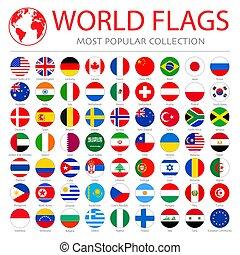 icônes, drapeaux, collection., vecteur, propre, rond, mondiale, 63, élevé, qualité