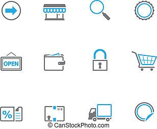 icônes, duotone, -, ecommerce, plus