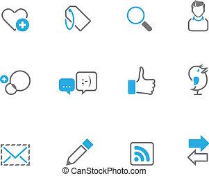 icônes, duotone, -, réseau, social