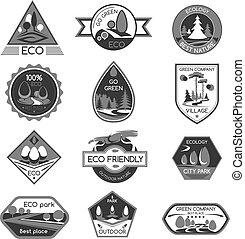 icônes, eco, compagnie, vecteur, vert, gabarit