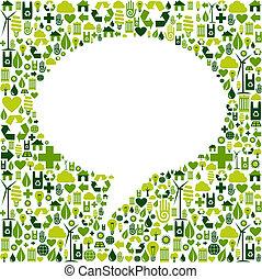icônes, eco, média, forme, fond, social, bulle