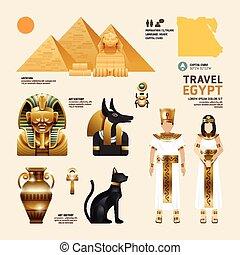 icônes, egypte, voyage, concept., vecteur, conception, plat