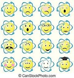 icônes, emoticons, set., atome