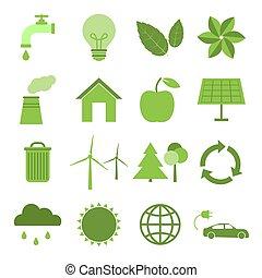 icônes, ensemble, écologie, vert, nature