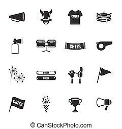 icônes, ensemble, équipement sports, acclamation
