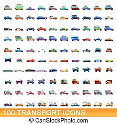 icônes, ensemble, 100, style, dessin animé, transport