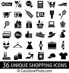 icônes, ensemble, achats