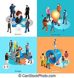 icônes, ensemble, affaires gens