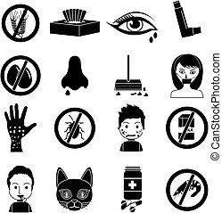 icônes, ensemble, allergies