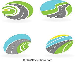 icônes, ensemble, autoroute, route