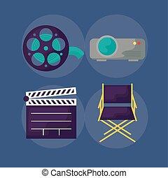 icônes, ensemble, bardeau, cinéma