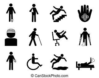 icônes, ensemble, blessure