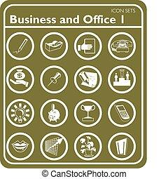 icônes, ensemble, bureau, business