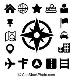 icônes, ensemble, carte, emplacement