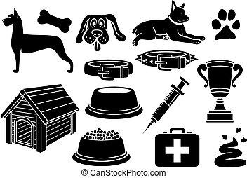 icônes, ensemble, chien