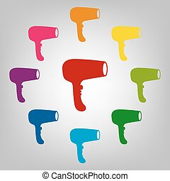 icônes, ensemble, colorfull
