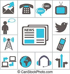 icônes, ensemble, communication.