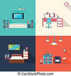 icônes, ensemble, créatif, meubles, conception, plat